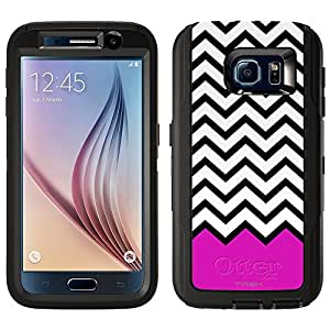 Skin Decal for Otterbox Defender Samsung Galaxy S6 Case - Chevron Black White Pink Ribon