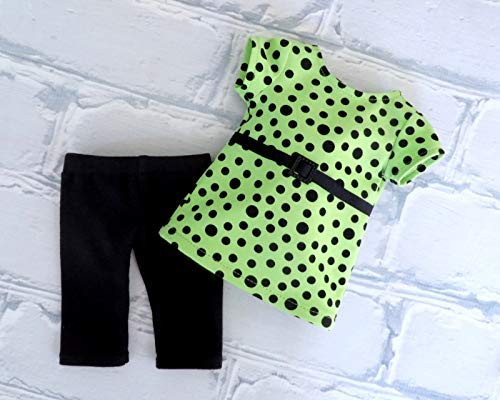 St Patricks Day Green Polka Tunic Top with Attached Belt and Black Leggings fits 18 inch Dolls