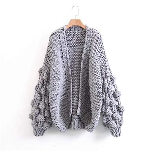rse Knitted Sweater Women Fashion Thicken Warm Winter Lantern Sleeve Crocheted Cardigans Female Coat Gray One Size ()