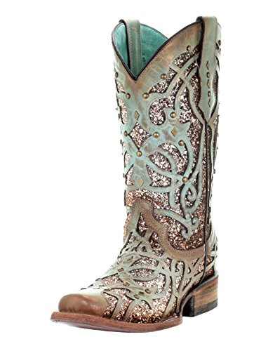 Corral Women's Square Toe Glitter Inlay & Studs Cowgirl Boot - Mint - MINT - 8 - M