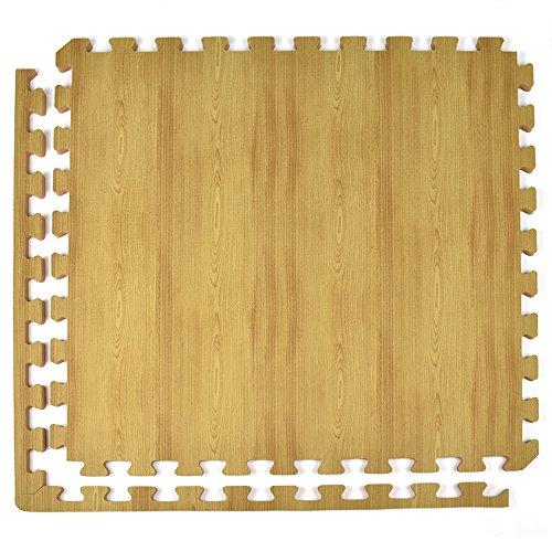 Greatmats Wood Grain Reversible Light Wood/Tan Foam Floor Tiles 24 x 24 x 1/2 inch, Case of 25 by Greatmats
