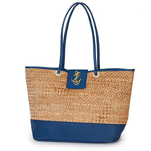 (Mud Pie Basket-Weave Cork Tote Bag Anchor Icon Nautical Navy)