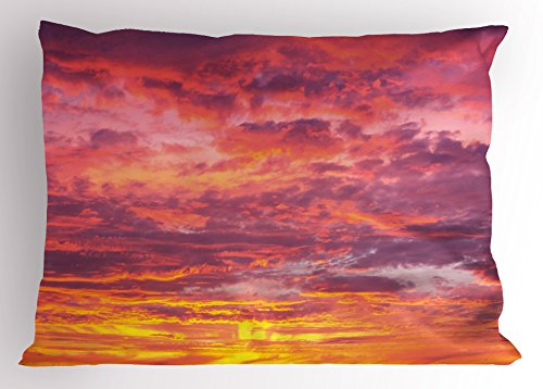 Ambesonne Sky Pillow Sham, Sunset Photography with Clouded Weather Tropical Scenic Hawaii Tranquility, Decorative Standard King Size Printed Pillowcase, 36 X 20 Inches, Coral Dried Rose Orange by Ambesonne