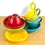 Espresso Cups and Saucers by Easy Living Goods - 3-Ounce Demitasse for Coffee, Set of 4, Assorted Colors (Vibrant) 5 BEAUTIFUL COLORS; 4 stylish colors in each set; Turquoise Blue, Poppy Red, Lemongrass Green and Sunflower Yellow; cup and saucers are color matched MICROWAVABLE AND DISHWASHER SAFE; convenient and easy care for busy lifestyles; cheerful and colorful demi cups for everyday use PREMIUM PORCELAIN; crafted with durable porcelain; 3-ounce capacity; single or double shot espresso; raised rim saucer with a round center indentation to hold your coffee cup