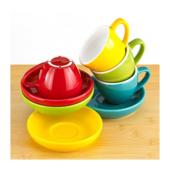 Espresso Cups and Saucers by Easy Living Goods - 3-Ounce Demitasse for Coffee, Set of 4, Assorted Colors (Vibrant) 2 BEAUTIFUL COLORS; 4 stylish colors in each set; Turquoise Blue, Poppy Red, Lemongrass Green and Sunflower Yellow; cup and saucers are color matched MICROWAVABLE AND DISHWASHER SAFE; convenient and easy care for busy lifestyles; cheerful and colorful demi cups for everyday use PREMIUM PORCELAIN; crafted with durable porcelain; 3-ounce capacity; single or double shot espresso; raised rim saucer with a round center indentation to hold your coffee cup