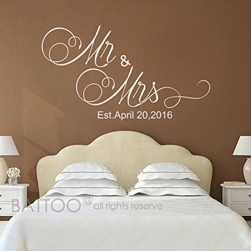 """BATTOO Mr And Mrs Wall Decals - Mr and Mrs Stickers - Newlywed Wall Decals - est date Wall Decal - Monogrammed Wall Decal - Wedding Gift(white, 22"""" wx12.5 h)"""