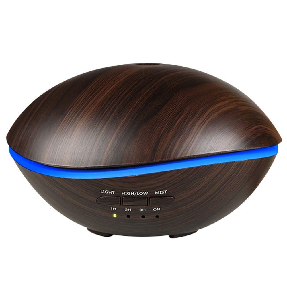 Difusor de Aceites Esenciales 500ml Humidificador Vapor Frío Ultrasónico Purificador Aromaterapia Luz LED de 7 Colores Temporizador Auto-Apagado Forma de Ballena, Wood Grain BIG SELLER