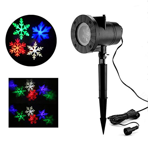 Christmas Light Projector, MZD8391 Multi-Color Snowflake Light Projector Spotlight, Lighting Landscape LED Projector Light Show for Halloween, Party, Holiday Decoration