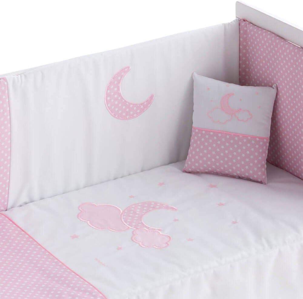 + Coj/ín MOON ROSA Edred/ón desenfundable Cuna 43x185 cm 60x120 cm Pekebaby MOON rosa + Protector desenfundable 60//70//80