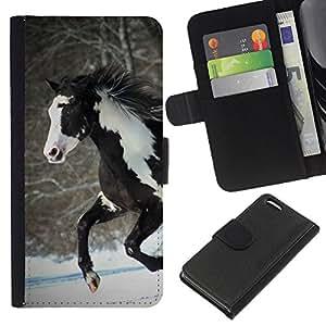 KingStore / Leather Etui en cuir / Apple Iphone 5C / Caballo colorido de la India Marrón Blanco Invierno gratuito