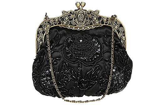 ILISHOP Women's Antique Beaded Party Clutch Vintage Rose Purse Evening Handbag (Black)
