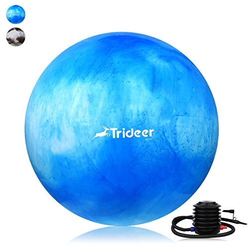 Trideer Exercise Ball (45-85cm) EXTRA THICK Yoga Ball Chair, Anti-Burst Heavy Duty Stability Ball Supports 2200lbs, Birthing Ball with Quick Pump (Office & Home & Gym) (White&Blue, 75cm)