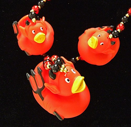 Devil Rubber Ducks Duckies Squeak Mardi Gras Beads New Orleans Carnival Bayou Lousianna Cajun Creole Party