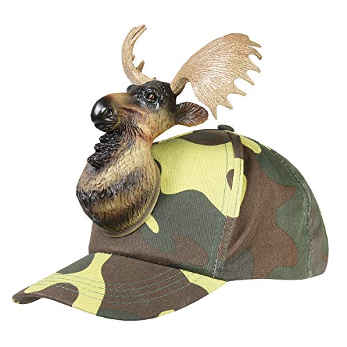 Moose Camo 3D Animal Adult One Size Cotton Ball Cap Hat]()