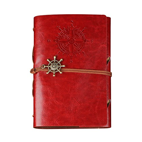 CYOS PU Leather Vintage Journal Diary Best Retro Soft Spiral Bound Leather Cover Notebook Travel Diary Loose Leaf Journal Blank 6 Ring Binder Planner (Red) by CYOS