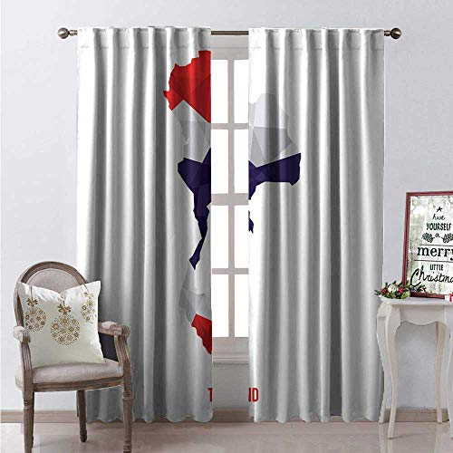 Hengshu Thai Blackout Window Curtain Low Poly Art Mosaic Style Thailand Country Flag Embedded Map Illustration Customized Curtains W96 x L84 Indigo Scarlet White
