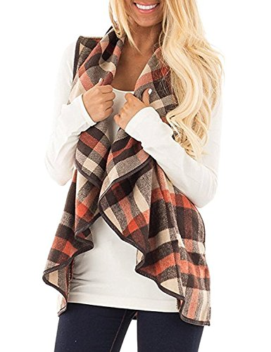 Yanekop Womens Sleeveless Open Front Hem Plaid Vest Cardigan Jacket with Pockets(Orange (Trim Womens Vest)