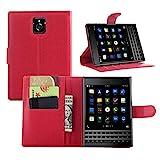 Premium Leather Wallet [ Flip Bracket ] Case Cover for Blackberry Passport (Wallet - Red)