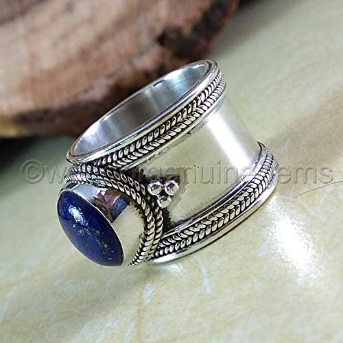 (lapis lazuli gemstone ring, solid 925 sterling silver, bohemian ring for women, lapis lazuli woman band, designer handmade jewelry, anniversary gift for wife ring, birthday gift for sister )