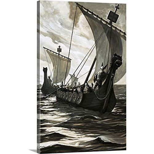 English School Premium Thick-Wrap Canvas Wall Art Print entitled Viking longboats ()