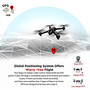 MJX Bugs 2W B2W GPS RC Quadcopter Drone with Altitude Hold, Brushless Motor Headless Mode 2.4G 6-Axis Gyro RC Helicopter With 1080P HD Camera WIFI FPV Drone - Black by CreaTion