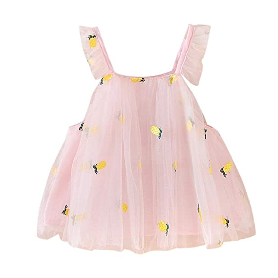 Cotton Baby Girl Dress White Pink Ruffles Pineapple Embroideried Dresses for Toddler Girls