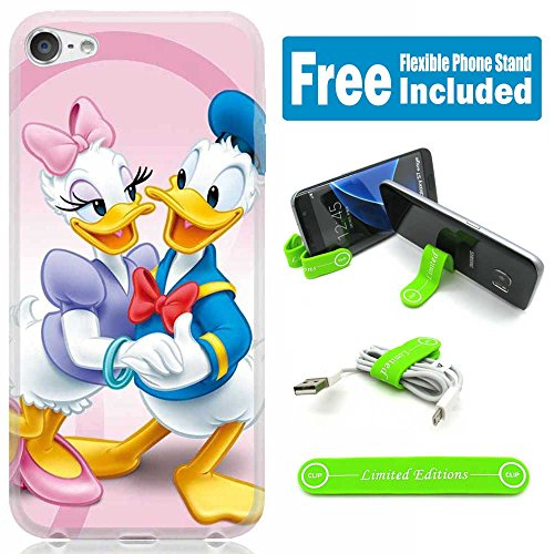 [Ashley Cases] For Apple iPhone 8 Plus/iPhone 7 Plus Cover Case Skin with Flexible Phone Stand - Donald Duck Couple Pink