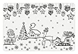 Ambesonne Christmas Pet Mat for Food and Water, Tree Ornaments with Santa Sleigh Rudolph Reindeer Toys Jingle Bells Image, Rectangle Non-Slip Rubber Mat for Dogs and Cats, Black and White