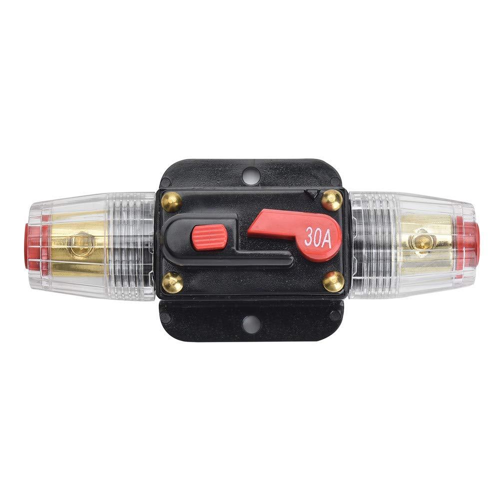 Qiorange Disjoncteur Int/égr/é Fusible Support Audio de Voiture 30A pour Protection de Syst/ème DC 12V-24V