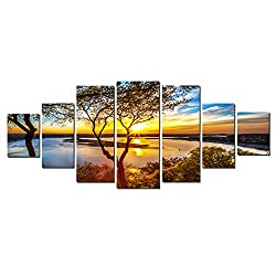 Startonight Glow in the Dark, Huge Canvas Wall Art Sunrise On The Lake, Home Decor, Dual View Surprise Artwork Modern Framed Wall Art Set of 7 Panels Total 39.37 x 94.49 inch