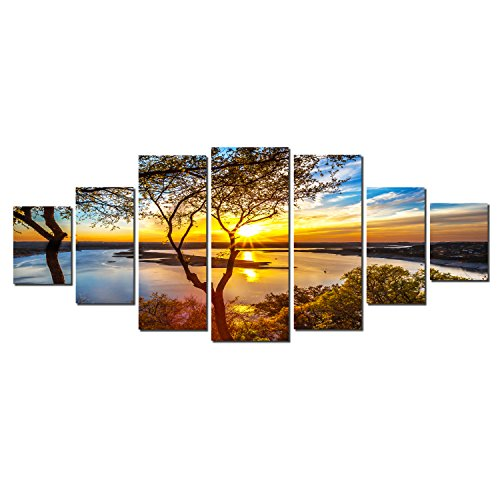 Startonight Huge Canvas Wall Art Sunrise On The Lake , USA Large Home Decor, Dual View Surprise Artwork Modern Framed Wall Art Set of 7 Panels Total 39.37 x 94.49 inch (Jellyfish Metal Wall Decor)