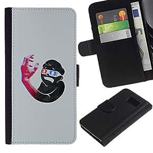 Billetera de Cuero Caso Titular de la tarjeta Carcasa Funda para Samsung Galaxy S6 SM-G920 / 3D Art Boy Hand Glasses Blue Red Structure / STRONG