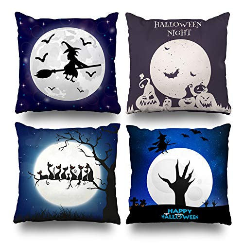 KJONG Silhouettes Witches Bats Moon Zippered Throw Pillow Cover,Set of 4 Square Decorative Pillow Case Fashion Style Cushion Covers(Two Sides -