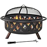 36 Inch Large Black Crossweave Fire Pit with Spark Screen by Sunnydaze