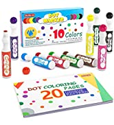 Washable Dot Markers, 10 Colors Bingo Daubers with Dot Coloring Book and 70 Patterns Coloring PDF...