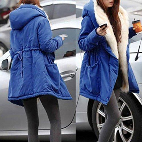 Chaqueta abrigo con gruesa de invierno mujeres de de Chaqueta de de Outwear piel las de sintética parka lana capucha Azul Internet qv61Efww