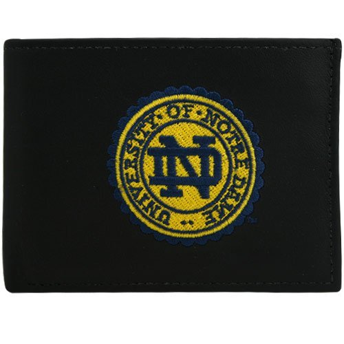 Rico Industries NCAA Notre Dame Embroidered Genuine Leather Billfold Wallet