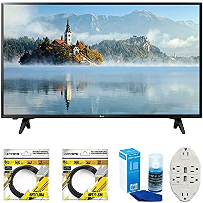 LG 43 inch Full HD 1080p LED TV 2017 Model (43LJ5000) with 2x 6ft High Speed HDMI Cable Black, Universal Screen Cleaner for LED TVs & Transformer Tap USB w/ 6-Outlet Wall Adapter and 2 Ports