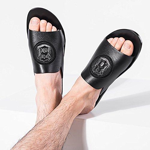 confortevole 38 vera Shoes esterno Toe nero Slipper Beach 40 Open antiscivolo Size dimensioni Outdoor 44 pelle in Summer Uomo progettato Sandalo morbido BA6q6T