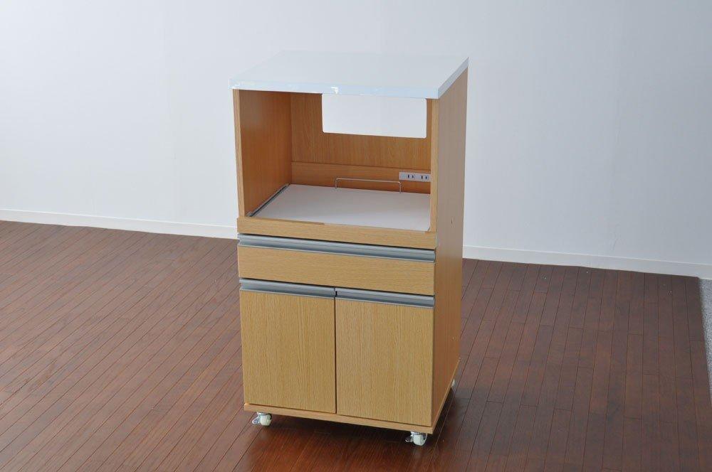 レンジ台 デザイン性、機能性を重視した レンジ台 キャスター付き ダイニング 台所/キッチン収納 台所/キッチン家電収納 ラック 棚 鏡面 ナチェラル B00MBAFIBI