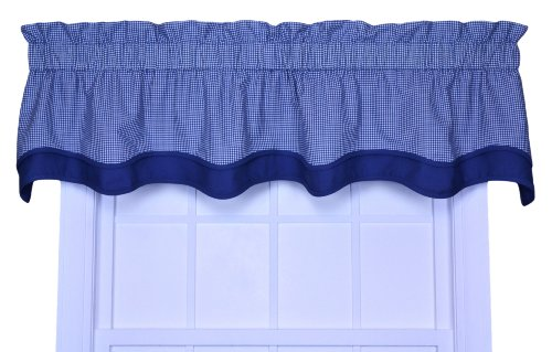 Logan Gingham Check Print Bradford Valance Window Curtain, Blue (Toile Blue Shade)