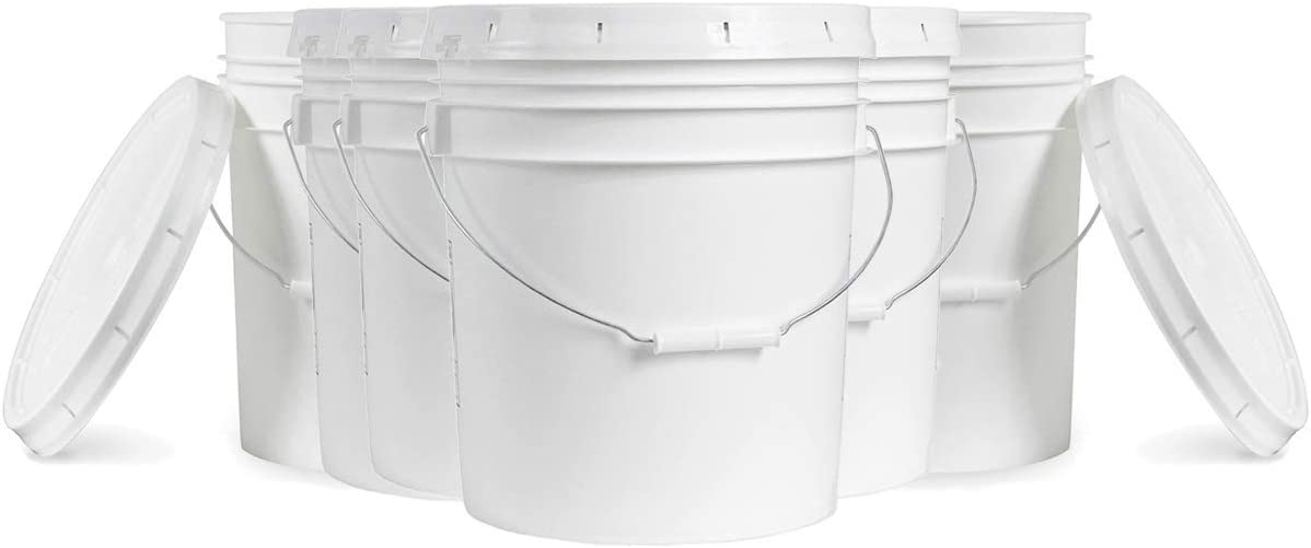 5 Gallon White Plastic Bucket & Lid - Durable 90 Mil All Purpose Pail - Food Grade - Contains No BPA Plastic - Recyclable - 6 Pack