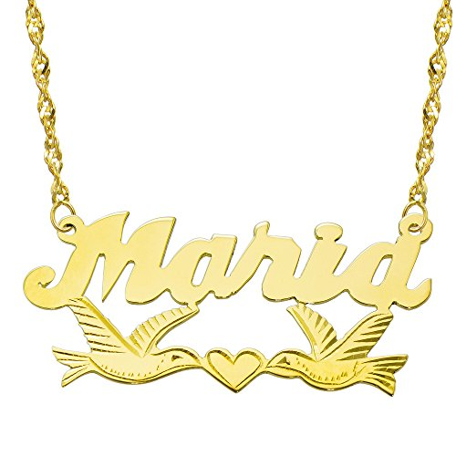 14K Yellow Gold Personalized Name Plate Necklace - Style 11 (16 Inches, Singapore Chain) 14k Yellow Gold Nameplate
