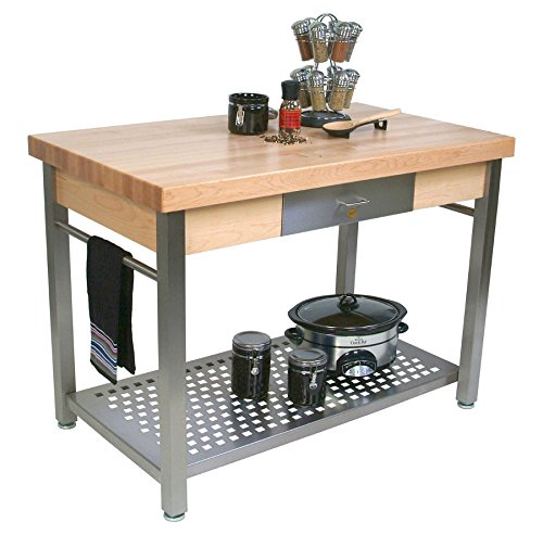 Cucina Grande Prep Table with Butcher Block Top Size / Drop Leaves: 48