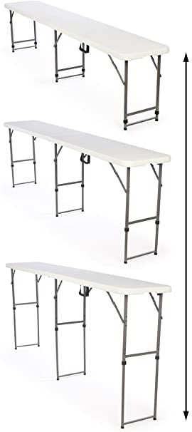 Amazon.com : Adjustable Height Folding Tables Are Portable And Can Be  Adjusted To 3 Separate Heights : Utility Tables : Office Products