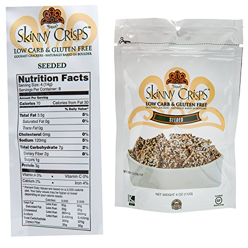 Skinny Crisps Seeded Low Carb & Gluten Free Crackers 4 Ounce Bag (Pack of 2) by Skinny Crisps (Image #2)