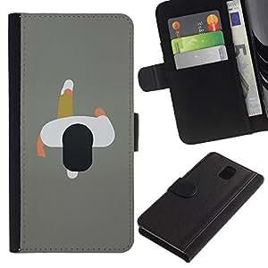 KLONGSHOP / Tirón de la caja Cartera de cuero con ranuras para tarjetas - 2D Man Minimalist Grey Design Art - Samsung Galaxy Note 3 III N9000 N9002 N9005
