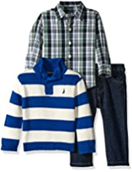 Nautica Baby Boys' Three Piece Set with Woven, Sweater, Denim Jean