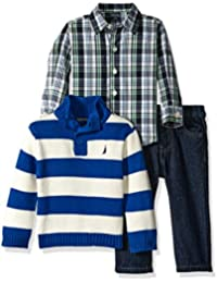 Nautica Baby Boys' Three Piece Set with Button Down Shirt, Sweater, and Pants