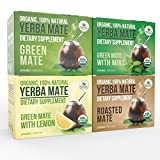 Yerba Mate Variety Pack - Organic Vitamin Packed Natural Detoxifier and Fat Burner - 4 boxes x 20 bags each box (2 grams per bag)